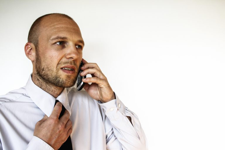 business man -difficult phonecall